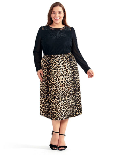 Women's Vintage Plus Size Leopard Straight Midi Skirt