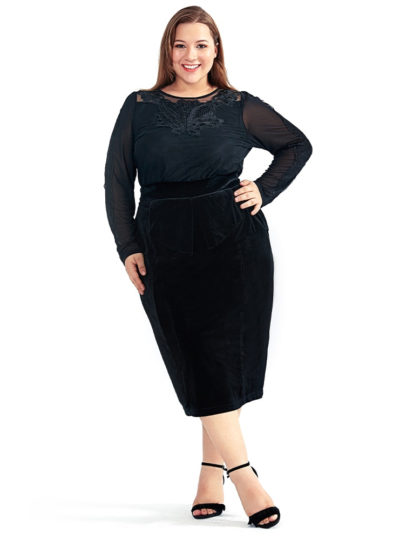 Women's High Waisted Velvet Plus Size Pencil Skirt