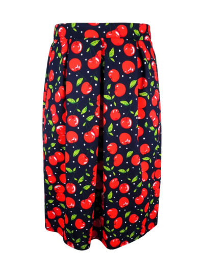 Women's Plus Size Pleated Skirt with Cherry Print