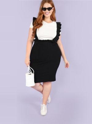 Women's Plus Size Black Bodycon Skirt with Ruffle Straps