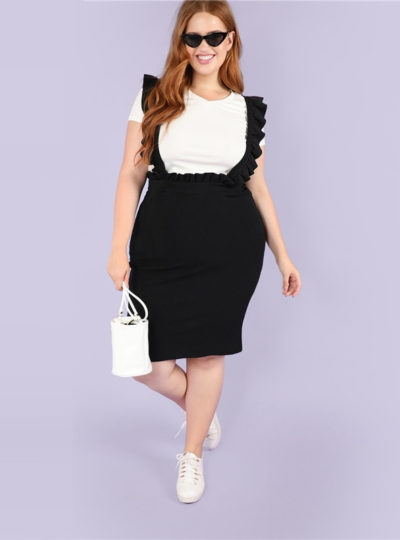 Women's Plus Size Black Bodycon Skirt with Ruffle Straps
