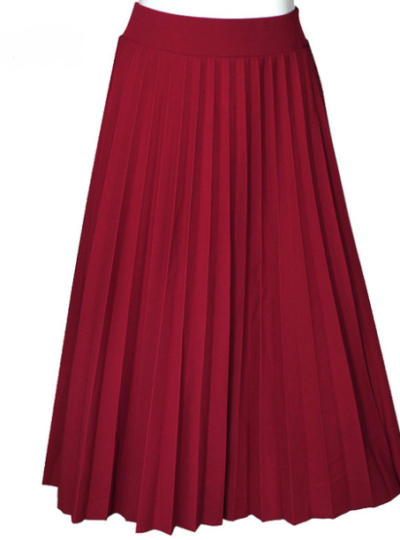 Vintage High-Waisted Knife-Pleated Women's Maxi Skirt