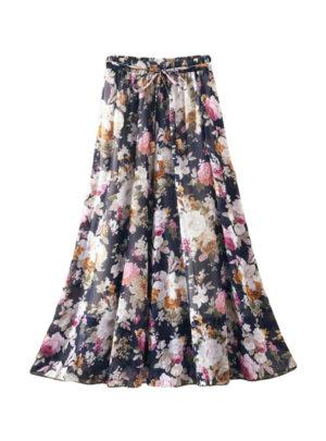 Women's Boho High Waist Skirt With Floral Pattern