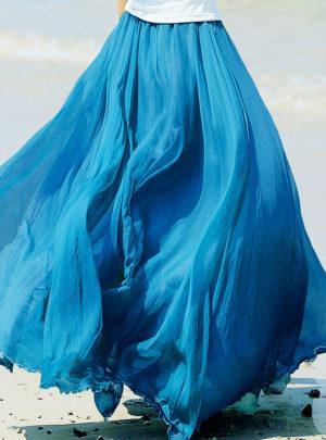 Women's Boho Chiffon Pleated Skirt