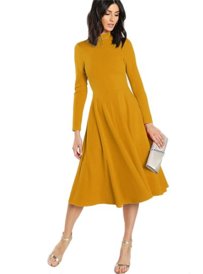 Elegant Turtleneck Flare A-Line Midi Dress