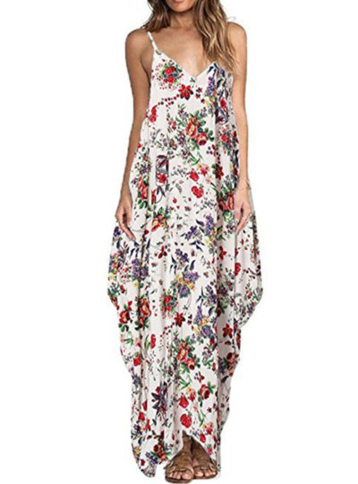 Women's Boho Floral Printed Maxi Dress