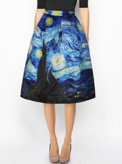Women's Van Gogh Printed Skirt