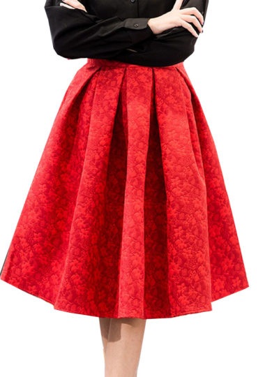 Cute Retro Styled High-Waisted Floral Jacquard Women's Skirt