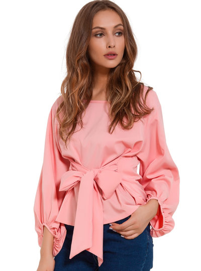 Women's Chiffon Draped Blouse With Sashes
