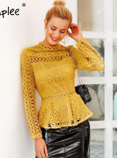 Women's Elegant Hollow Out Blouse with Basque
