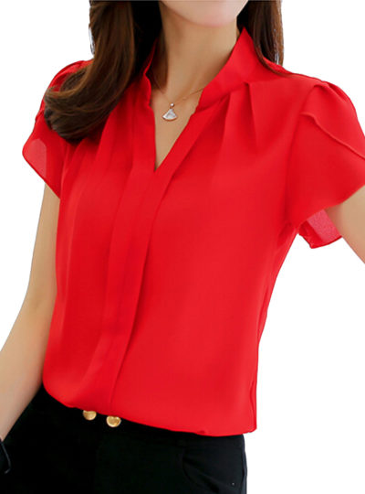 Women's Formal Short Sleeve Chiffon Shirts