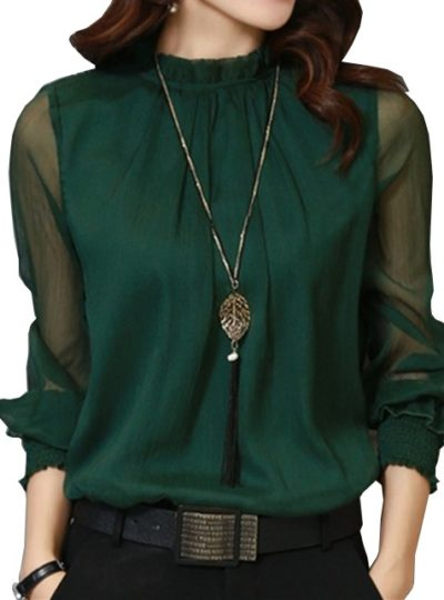Women's Bohemian Long Mesh Sleeved Chiffon Blouse