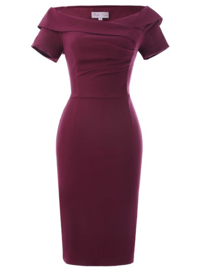 Elegant Vintage Summer Off-Shoulder Women's Pencil Dress