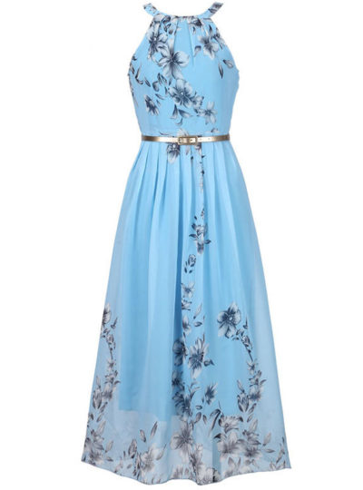 Women's Floral Printed Chiffon Long Dress
