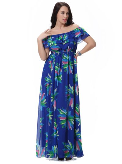 Bohemian Summer Off-Shoulder Women's Maxi Dress