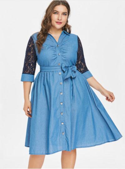 Elegant Denim Lace A-Line Plus Size Women's Dress