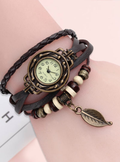 Vintage Dress Watch with Genuine Leather Bracelet