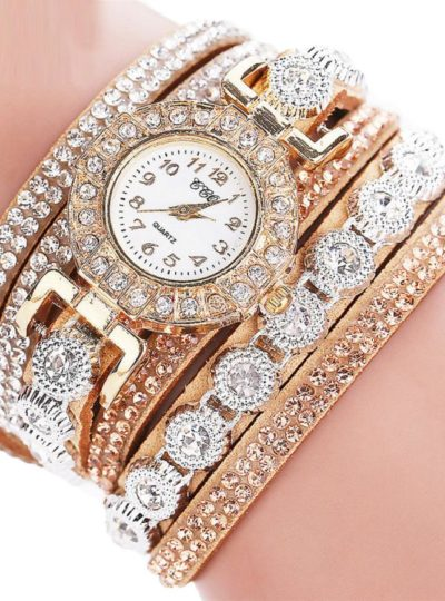 PU Leather Rhinestone Wrist Watch for Woman