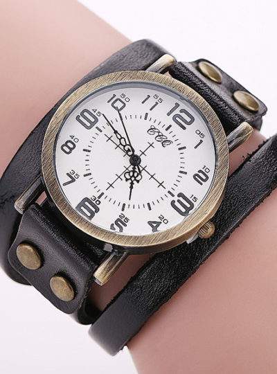 Vintage Leather Bracelet Women's Watches