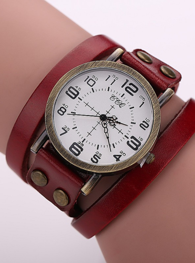 Women's Antique Leather Bracelet Watch