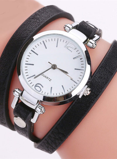 Women's Elegant Leather Bracelet Watch