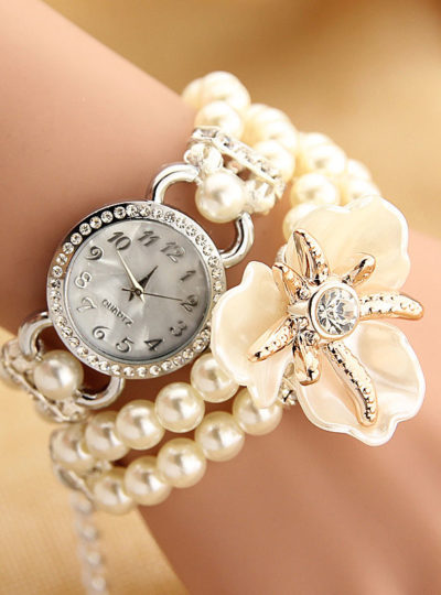 Women's Delicate Flower Bracelet Wrist Watch