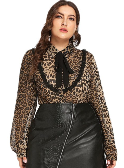 Leopard Printed Chiffon Plus Size Women's Blouse