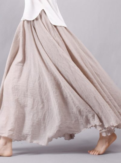 Women's Pleated Flare Maxi Skirt