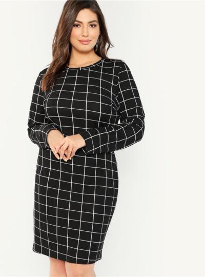 Elegant Plaid Printed Plus Size Pencil Women's Dress