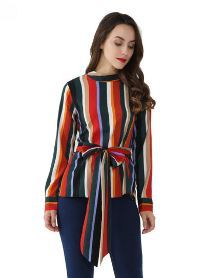 Women's Striped O-Neck Blouse with Bow Belt