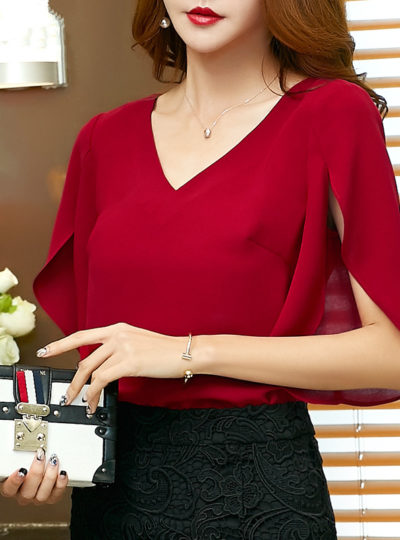 Women's Classic Chiffon Short Flare Sleeved Blouse