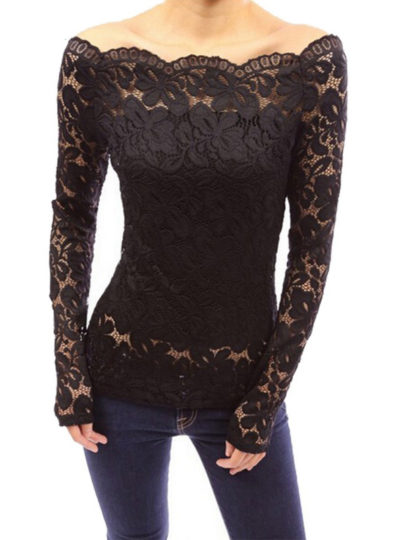 Women's Off Shoulder Long Sleeved Lace Blouse