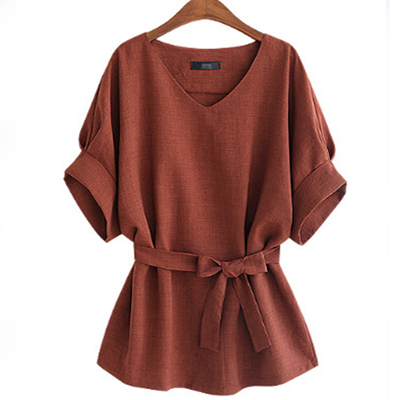 Women's Half Sleeved Blouse With Sashes
