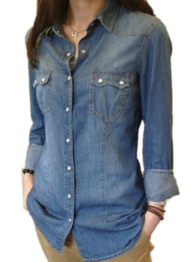 Stylish Casual Denim Women's Shirt